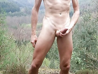 outdoor cumshot with bald cock